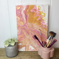 acrylic painting in pink yellow and gold CLEARANCE