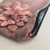 pretty pink tweed make up bag with felt succulent and lace