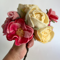 bouquet of felt flowers, lemon and pink, peony, roses, wool felt,
