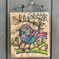 "rustic driftwood wooden folk style bird plaque ""home"""