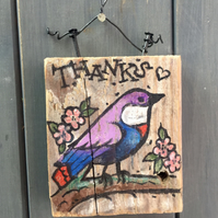 "rustic driftwood wooden folk style bird plaque ""thanks"""