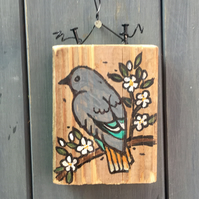 "rustic driftwood wooden folk art style bird plaque ""greybird"""