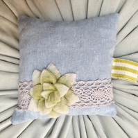 pretty blue linen pin cushion with felt succulents and lace
