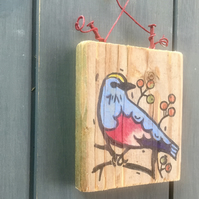 rustic driftwood wooden folk art style bird plaque Betty