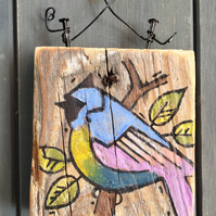 rustic driftwood wooden folk art style bird plaque Katie