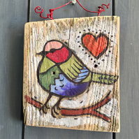 rustic driftwood wooden folk art style bird plaque Petal