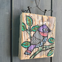 rustic driftwood wooden folk art style bird plaque Taco