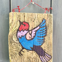 rustic driftwood wooden folk art style bird plaque Emily