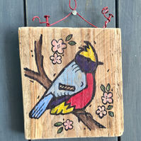 rustic driftwood wooden folk art style bird plaque Talluleh
