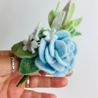 Felt blue rose corsage pin brooch