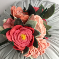 bouquet of felt flowers, orange,peach and red, roses, wool felt,