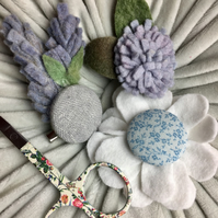 set of three felt and cotton flower brooches CLEARANCE! (no3) lavender