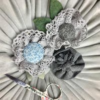 set of 3 felt and cotton flower brooches CLEARANCE! (no8) blues and greys