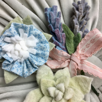 set of three felt and cotton flower brooches CLEARANCE! (no6) blue and lavender