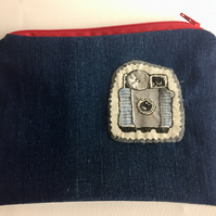 blue denim camera motif embroidered make up bag