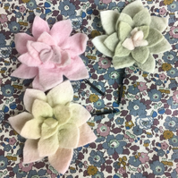 set of 3 felt succulent large hair pin grips