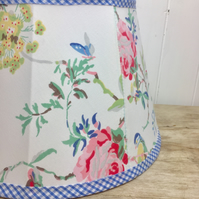 handmade tailored soft empire lampshade in Cath Kidston birds roses fabric