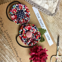 set of 3 fellt and Liberty fabric flower hairbands  red Betsy anne