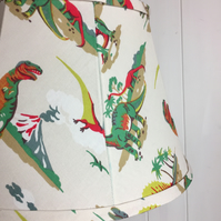 handmade tailored soft empire lampshade in Cath Kidston dino fabric