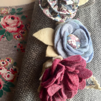 set of 3 felt and Liberty fabric flower brooches  grey Betsy anne (2)