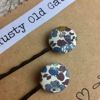 Pair of Liberty button bobby pins, hair grips grey
