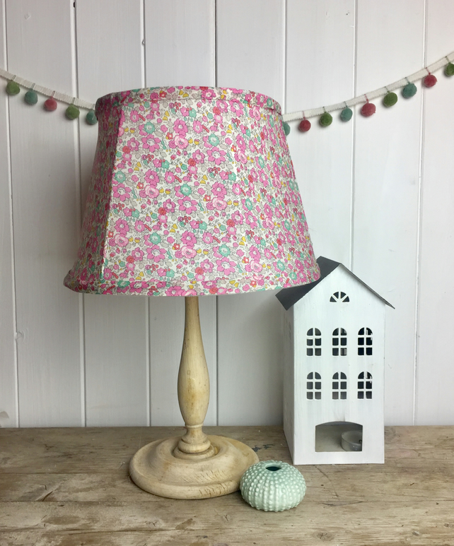 handmade tailored soft empire  small lampshade in Liberty Betsy Anne fabric Pink