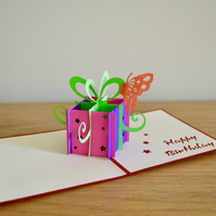 Birthday present with butterfly birthday gifts pop up card