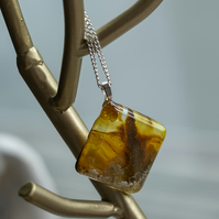 Square Resin Art Necklace