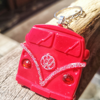 Resin VW Campervan Keyring Red