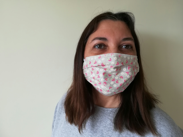Face Mask, Handmade in UK with Washable Cotton Cloth Fabric and Filter Pocket