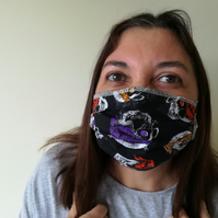 Face Mask Handmade in York, UK with Washable Cotton Cloth Fabric & Filter Pocket