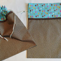Set of Two Handmade Drawstring Travel Pouches - perfect for holidays or at home