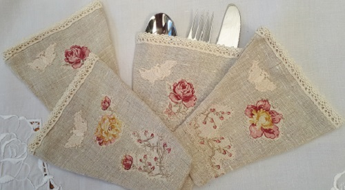Cutlery Holders - Linen & Lace