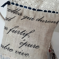 Lavender Bag - Script Linen & Applique