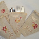 Cutlery Holders - Linen Applique
