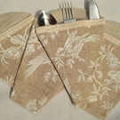 Holders for Cutlery - Printed Linen