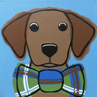 Hand painted Fox red Lab puppy with bow tie canvas with hooks for leads or keys