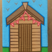 Hand painted shed canvas key or accessories hook, for allotment or garden sheds
