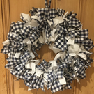 Navy White Checked Crimped Rag Wreath