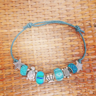 Ocean Theme Bracelet - Charm Bracelet - Pretty Blue & Metal Beads on Waxed Cord