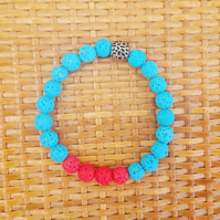 Lave Stone Beaded Bracelet - Bright Red and Blue Beads