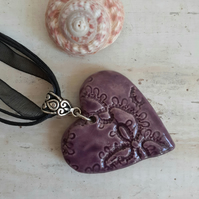Ceramic Heart Necklace - Handmade in Cornwall
