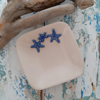 Ceramic Starfish Dish - trinket - ring - soap - small dessert dish - beach theme