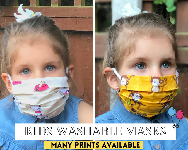 Washable Kids Face Masks - Organic Cotton, Double Layer Pleated Protection Dust