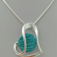Loch and Sea Turquoise Blue Waves Silver Heart Necklace - Made in Scotland