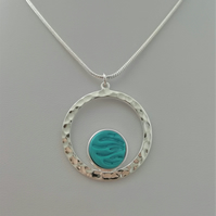 Loch and Sea Turquoise Blue Waves Silver Circle Necklace - Made in Scotland
