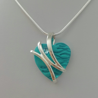 Loch and Sea Turquoise Blue Waves Silver Sash Heart Necklace - Made in Scotland