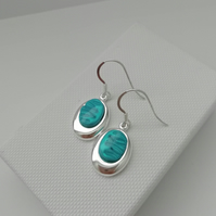 Loch and Sea Turquoise Blue Waves Silver Oval Drop Earrings - Made in Scotland