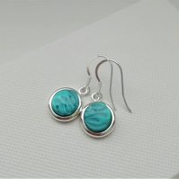 Loch and Sea Turquoise Blue Waves Silver Round Drop Earrings - Made in Scotland