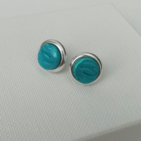 Loch and Sea Turquoise Blue Waves Silver round stud earrings - Made in Scotland